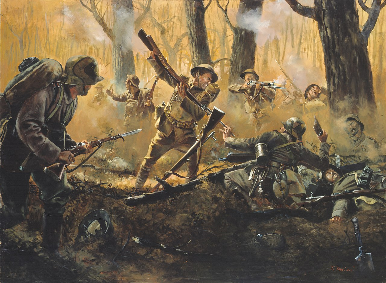 Americans in the Champagne-Marne offensive, 1918.